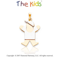 14k Two Tone Gold Adorable Little Boy Joy Small Pendant